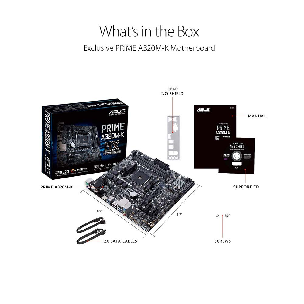 ASUS PRIME A320M-K, MAD AM4 uATX motherboard with LED lighting, DDR4  3200MHz, 32Gb/s M 2, HDMI, SATA 6Gb/s, USB 3 0
